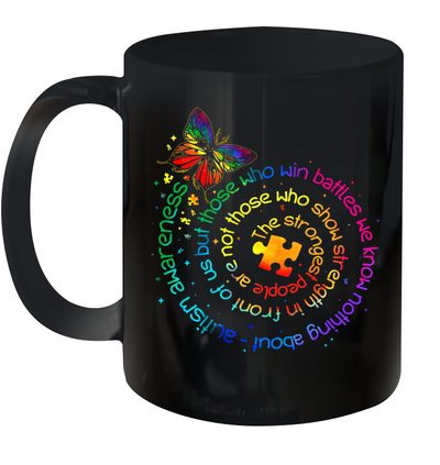 Butterfly Autism Awareness The Strongest People Puzzle Piece Mug