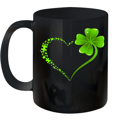 Puzzle Heart Shamrock St Patrick's Day Autism Awareness Gifts Mug