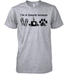 I'm A Simple Woman Flip Flops Coffee Dog Paw Shirt