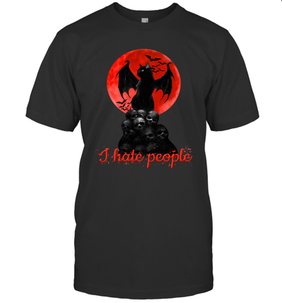 Bat And Black Cat Moon Skull I Hate People Shirt
