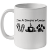 I'm A Simple Woman Flip Flops Coffee Dog Paw Mug