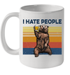 Bear Drinking Beer I Hate People Vintage Mug