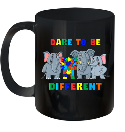 Dare To Be Different Elephants Autism Awareness Day Gift Mug