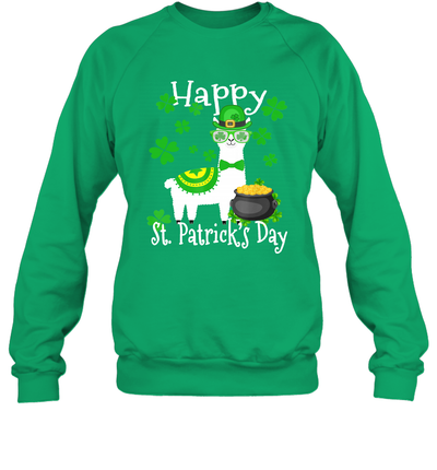 Llama Shamrock Leprechaun Happy St Patrick's Day Funny Shirt