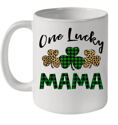 Funny One Lucky Mama Leopard Plaid St Patrick's Day Gift Mug
