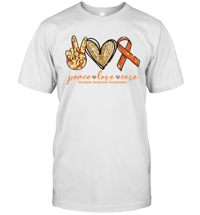 Peace Love Cure Multiple Sclerosis Awareness Shirt