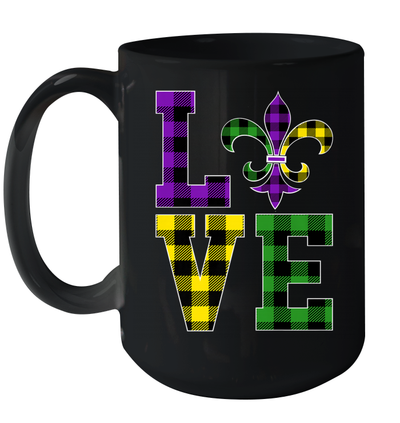 I Love Mardi Gras Buffalo Plaid Gift For Men's Women's Mug