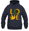 Funny Love Weed Sunflower And Cannabis Graphic T-Shirt