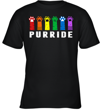Purride Paw Cat Kitten Lgbt Gay Les Pride Rainbow Vintage Shirt