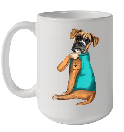 Boxer Tattoo I Love Mom Gift Mothers Day Mug