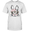 Easter Bunny Face Leopard Print Glasses Easter Gift Shirt