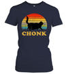 Funny Fat Cats Meme, Chonk Black Cat Vintage Sunset Gift Shirt