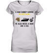 A Man Cannot Survive On Beer Alone He Needs Boat And A Dog Shirt