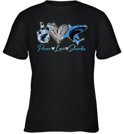 Peace Love Sharks Funny Shirt