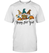 Happy Fall Y'all Three Gnomes Leopard Sunflower Halloween Gift Shirt