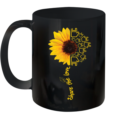 Asl American Sign Language Sunflower Share The Love Mug