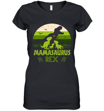 Vintage Retro 3 Kids Mamasaurus Dinosaur Mother's Day Gift Shirt