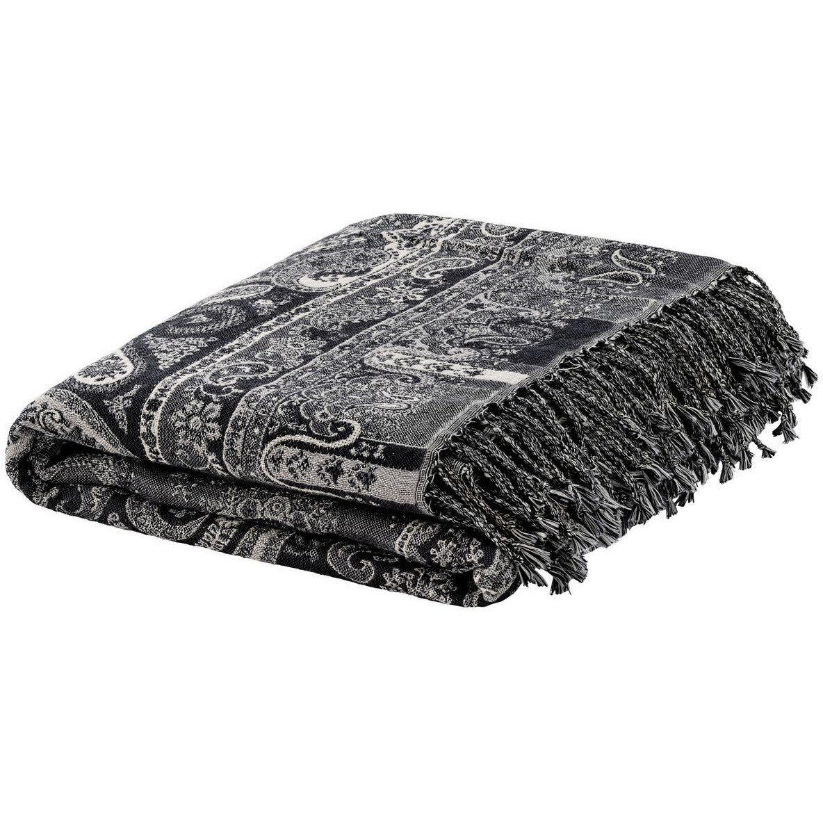 Paisley Throw - Dark Grey