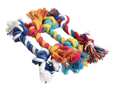 Dog Cotton Chew Knot Toy Durable Braided Bone Rope