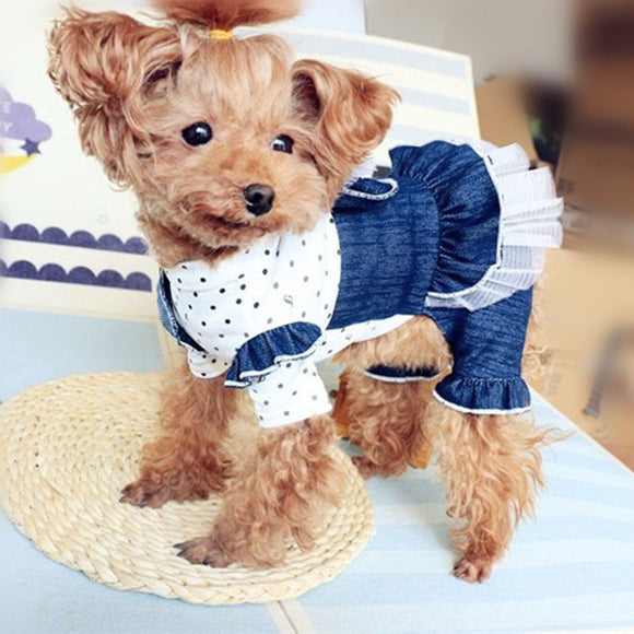 Dog Jumpsuits Dress Style  Denim and Tulle Ruffle  100%Cotton