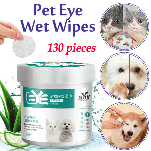 130 Pieces Pet Eye Wet Wipes Tear Stain Remover