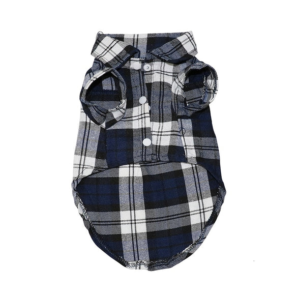 Soft  Cotton Summer Plaid 3 snap Dog Shirt