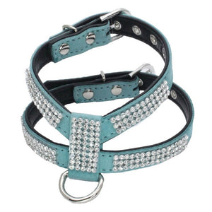 1pc  Adjustable Dog Harness  Quick Release Bling Rhinestone  Leather