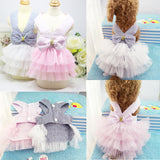 Summer Dog Ruffled Tulle Party Dress with Back Bow