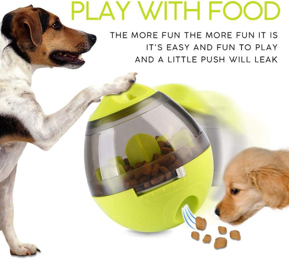 Fun Dog Treat Food Dispensing Ball Increases Mental Stimulation Tumbler Design