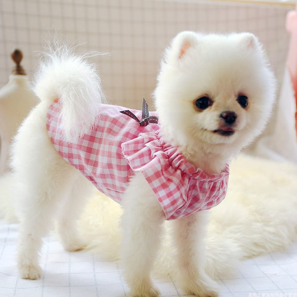 Spring Summer Dog Checkered Romper