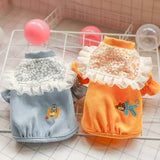Spring Summer Dog Princess Puff Sleeve Lace Outfits