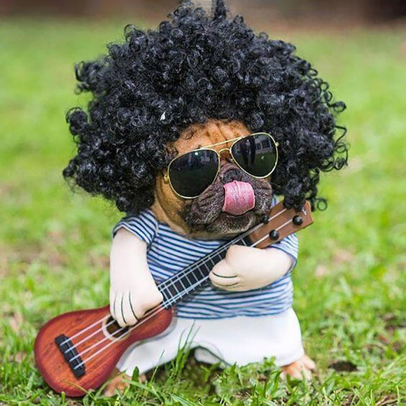Funny Pet Guitar Player Cosplay Dog Costume  Plus Wig