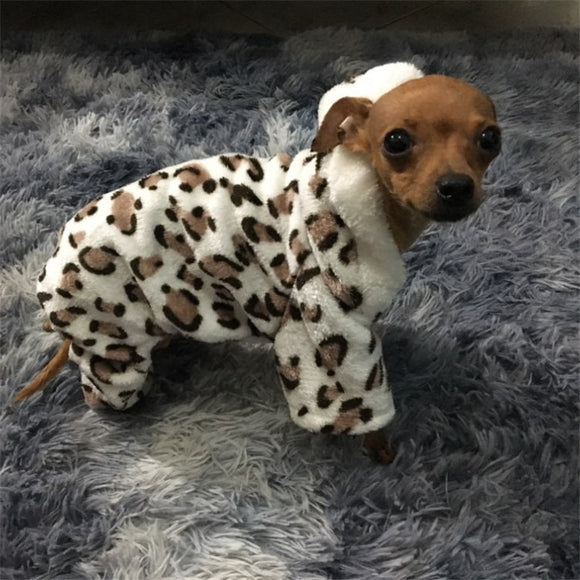 Fashion Soft Leopard print warm Pet Clothes Coat Costume