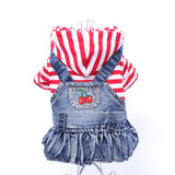Striped  Hoodie Top and Denim Dog Skirt with Fruit pattern