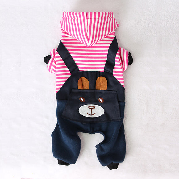 Fashion Striped Dog Hoodie Shirt with attached pants