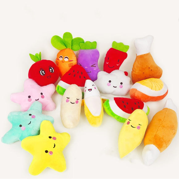 Cute Food Cartoon Squeaky Plush Dog Toy