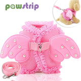 Angel Pet Dog Adjustable Leash Lace Mesh  Wing Harness with Pearls