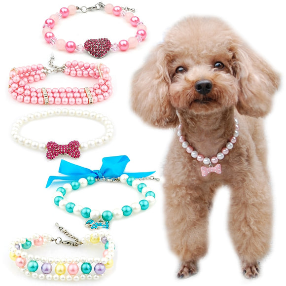 2 piece Pet Pearl  Necklace Collar