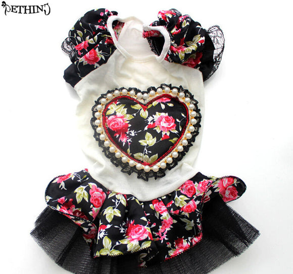 Dog dress with Pink Rose Heart and Black Ruffle