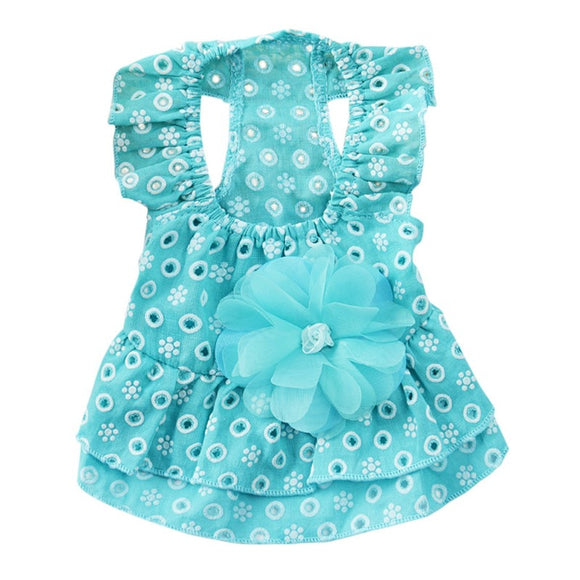 Dog Spring Summer Ruffle Flower Accent Skirt