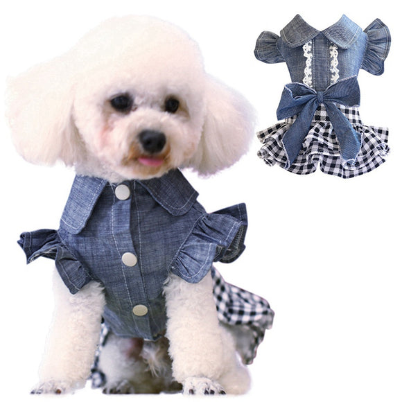 Spring  Dog Denim Dress  With Attached Checkered Skirt
