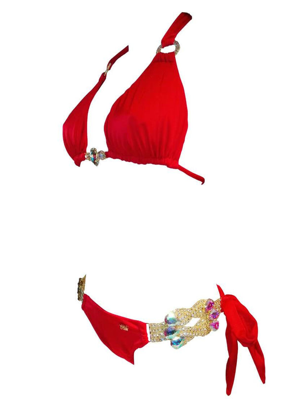 Amber Luxury Top & Tie Side Bottom - Red - Global Planet