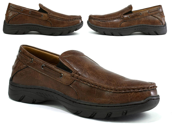 Men's Thick Sole Slip on Walking Shoes Brown - Global Planet