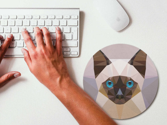 Mouse Pad Geometric Siamese Cat Mousepad Art Mouse - Global Planet