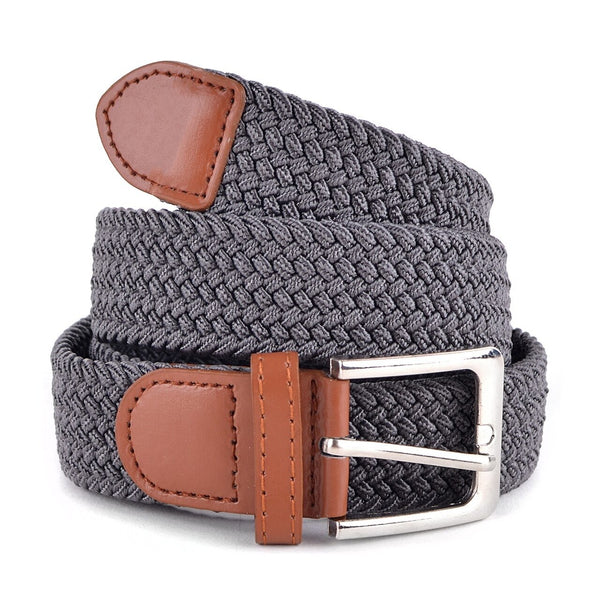 Men's Charcoal Stretch Braided Woven Belts - Global Planet