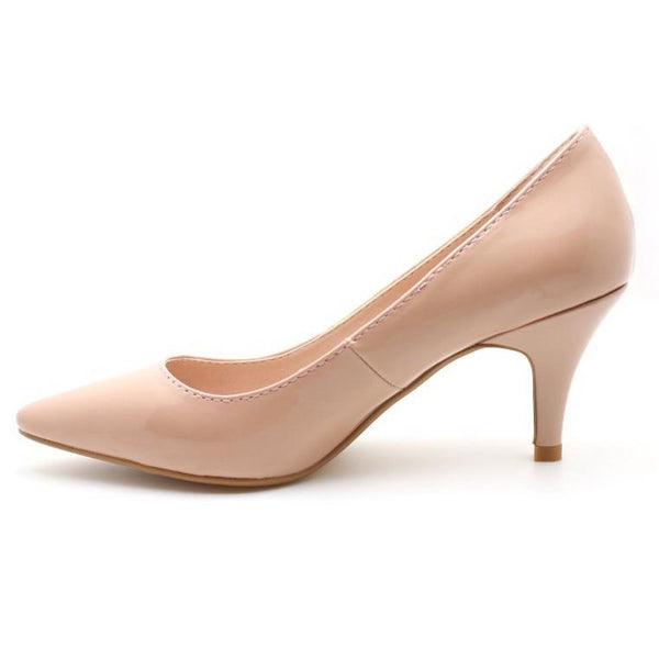 Patent Pointed Toe Pumps (Pink) - Global Planet