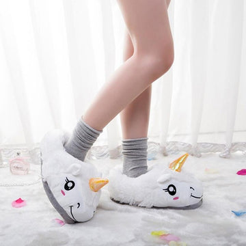 Warm Plush Unicorn Slippers