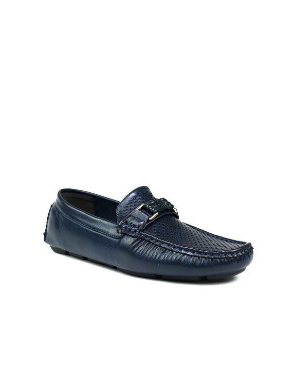 Men's Perforated Loafers Navy - Global Planet