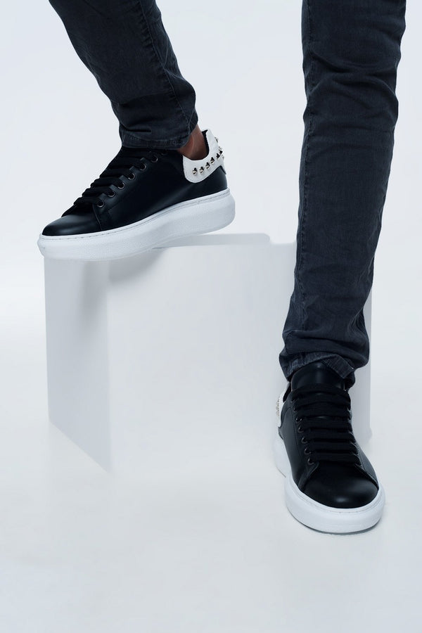 Black Sneakers With Studs - Global Planet