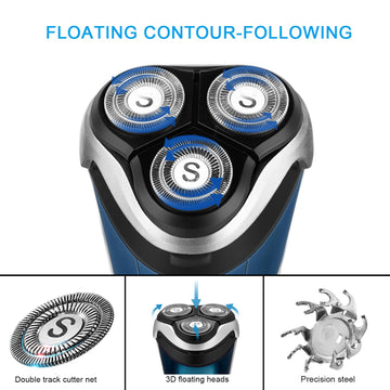 SweetLF 3D Rechargeable 100% Waterproof IPX7 Electric Shaver Wet & Dry Rotary Shavers for Men Electric Shaving Razors with Pop-up Trimmer, Blue